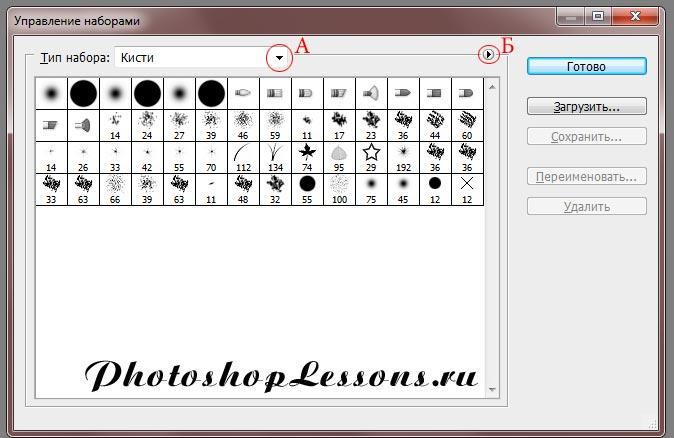 Окно «Управление наборами» (Preset Manager) Photoshop CS6