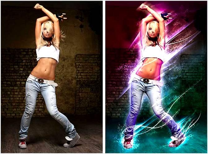 Добавляем святящиеся линии и световые эффекты на фото. До и После обработки.