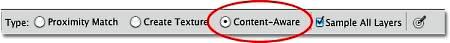 Новая опция «С учетом содержимого» (Content-Aware) в Photoshop CS5.