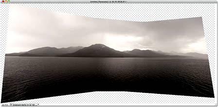 Команда Фотомонтаж хорошо сшивает изображения вместе, но она оставляет много пустого места вокруг изображения.