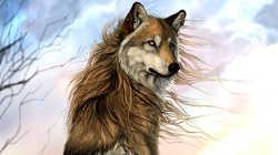 Процесс рисования картины «Волк: Ветреный день»
