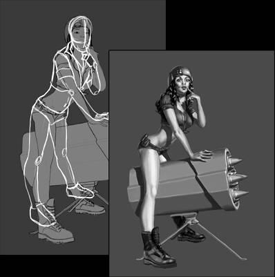 Процесс рисования девушки в стиле пин-ап используя Фотошоп