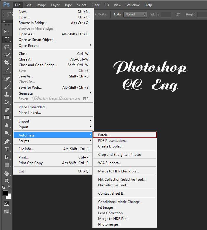 Перевод File - Automate - Batch (Файл - Автоматизация - Пакетная обработка) на примере Photoshop CC (2014) (Eng)