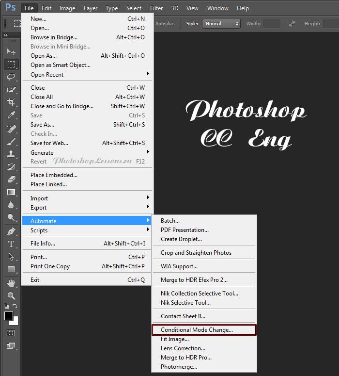 Перевод File - Automate - Conditional Mode Change (Файл - Автоматизация - Изменить цветовой режим) на примере Photoshop CC (2014) (Eng)