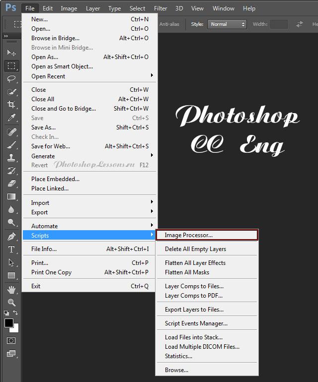 Перевод File - Scripts - Image Processor (Файл - Сценарии - Обработчик изображений) на примере Photoshop CC (2014) (Eng)