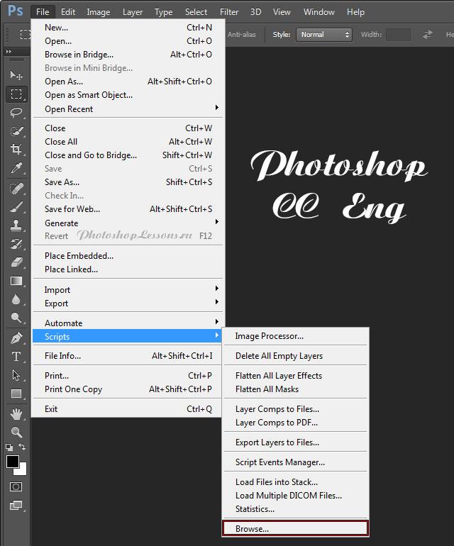 Перевод File - Scripts - Browse (Файл - Сценарии - Обзор) на примере Photoshop CC (2014) (Eng)