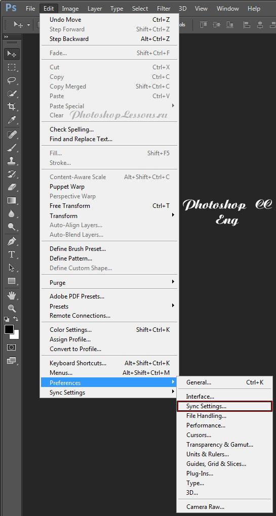 Перевод Edit - Preferences - Sync Settings (Редактирование - Настройки - Синхронизация настроек) на примере Photoshop CC (2014) (Eng)