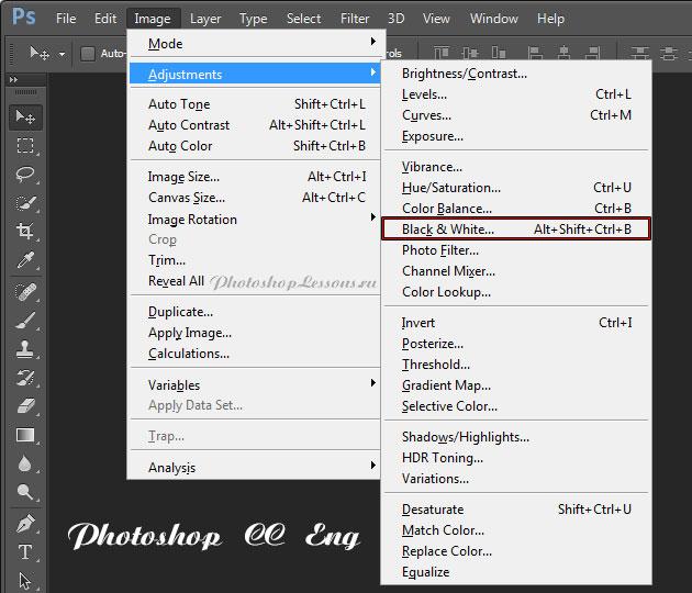 Перевод Image - Adjustments - Black & White (Изображение - Коррекция - Черно-белое / Alt+Shift+Ctrl+B) на примере Photoshop CC (2014) (Eng)