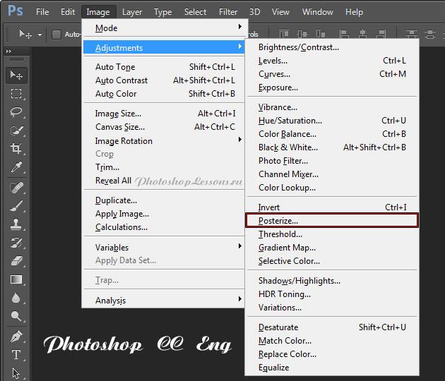 Перевод Image - Adjustments - Posterize (Изображение - Коррекция - Постеризация) на примере Photoshop CC (2014) (Eng)