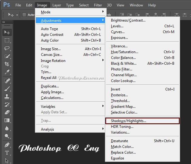 Перевод Image - Adjustments - Shadows/Highlights (Изображение - Коррекция - Тени/Света) на примере Photoshop CC (2014) (Eng)
