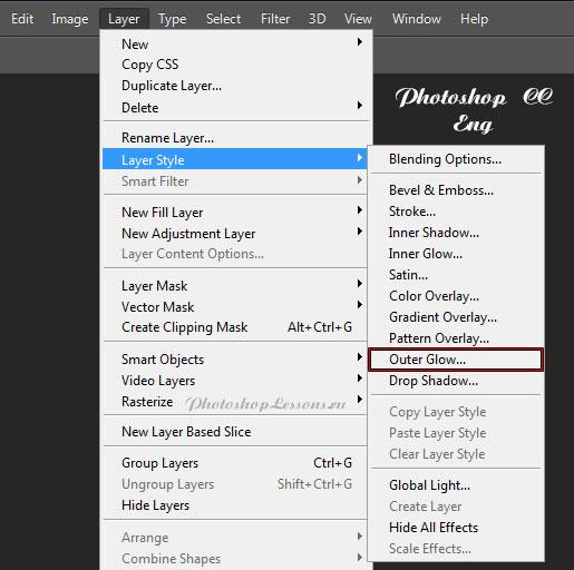 Перевод Layer - Layer Style - Outer Glow (Слои - Стиль слоя - Внешнее свечение) на примере Photoshop CC (2014) (Eng)