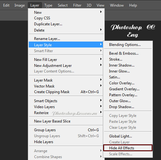 Перевод Layer - Layer Style - Hide All Effects (Слои - Стиль слоя - Скрыть все эффекты) на примере Photoshop CC (2014) (Eng)