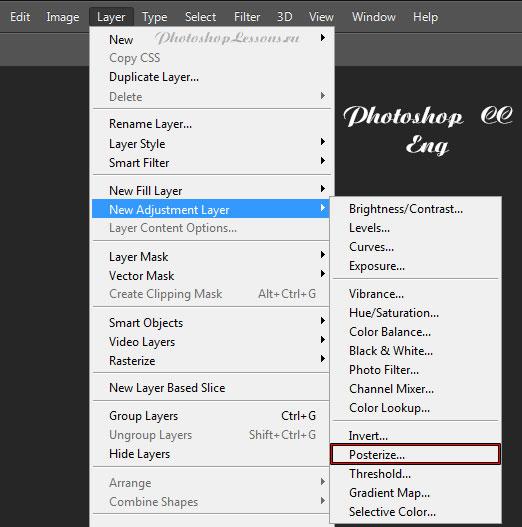 Перевод Layer - New Adjustment Layer - Posterize (Слои - Новый корректирующий слой - Постеризация) на примере Photoshop CC (2014) (Eng)