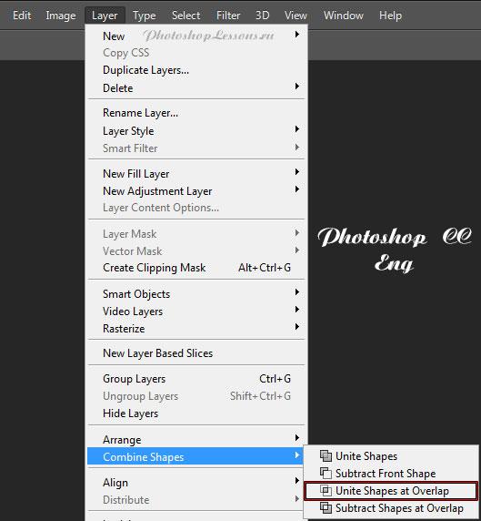 Перевод Layer - Combine Shapes - Unite Shapes at Overlap (Слои - Объединить фигуры - Объединить фигуры в наложении) на примере Photoshop CC (2014) (Eng)