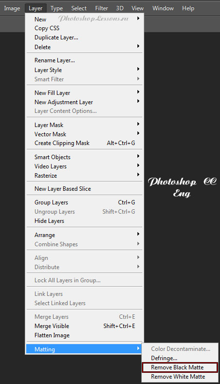 Перевод Layer - Matting - Remove Black Matte (Слои - Обработка краев - Удалить черный ореол) на примере Photoshop CC (2014) (Eng)