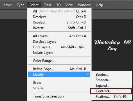 Перевод Select - Modify - Contract (Выделение - Модификация - Сжать) на примере Photoshop CC (2014) (Eng)