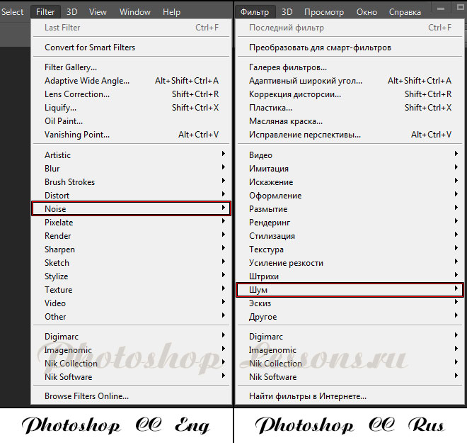 Перевод Filter - Noise (Фильтр - Шум) на примере Photoshop CC (2014) (Eng/Rus)