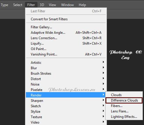 Перевод Filter - Render - Difference Clouds (Фильтр - Рендеринг - Облака с наложением) на примере Photoshop CC (2014) (Eng)