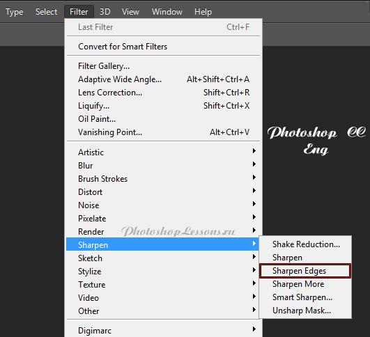 Перевод Filter - Sharpen - Sharpen Edges (Фильтр - Усиление резкости - Резкость на краях) на примере Photoshop CC (2014) (Eng)