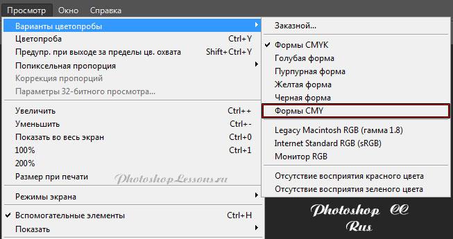 Перевод Просмотр - Варианты цветопробы - Формы CMY (View - Proof Setup - Working CMY Plates) на примере Photoshop CC (2014) (Eng/Rus)