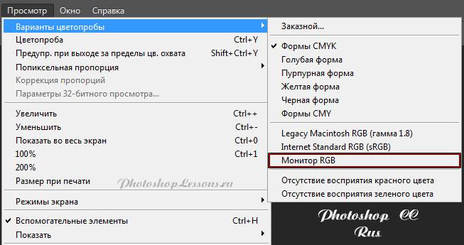 Перевод Просмотр - Варианты цветопробы - Монитор RGB (View - Proof Setup - Monitor RGB) на примере Photoshop CC (2014) (Rus)