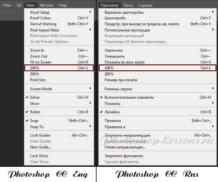 Перевод View - 100% (Просмотр - 100% / Ctrl+1) на примере Photoshop CC (2014) (Eng/Rus)