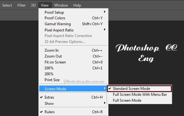Перевод View - Screen Mode - Standard Screen Mode (Просмотр - Режимы экрана - Стандартное окно) на примере Photoshop CC (2014) (Eng)
