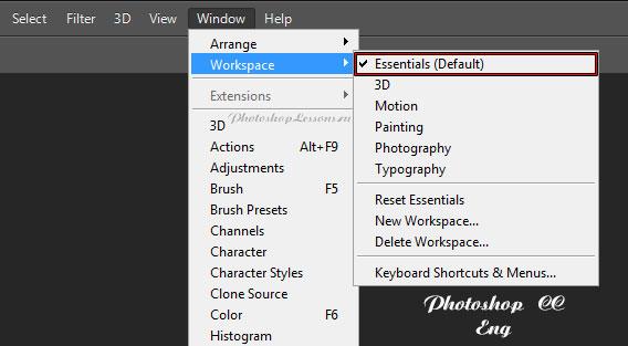 Перевод Window - Workspace - Essentials (Окно - Рабочая среда - Основная рабочая среда) на примере Photoshop CC (2014) (Eng)