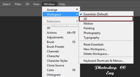 Перевод Window - Workspace - 3D (Окно - Рабочая среда - 3D) на примере Photoshop CC (2014) (Eng)