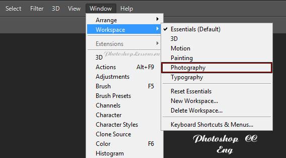 Перевод Window - Workspace - Photography (Окно - Рабочая среда - Фотография) на примере Photoshop CC (2014) (Eng)