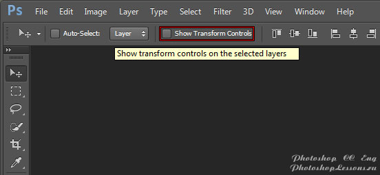 Перевод Move Tool - Show Transform Controls (Инструмент «Перемещение» - Показать упр. элем.) на примере Photoshop CC (2014) (Eng)