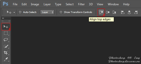 Перевод Move Tool - Align top edges (Инструмент «Перемещение» - Выравнивание по верхнему краю) на примере Photoshop CC (2014) (Eng)