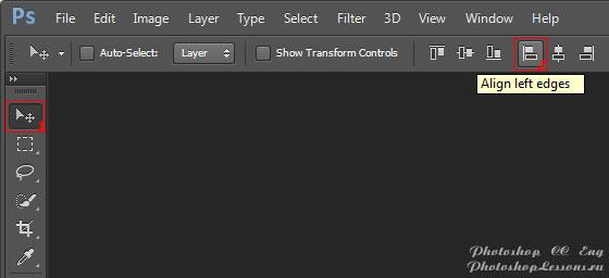 Перевод Move Tool - Align left edges (Инструмент «Перемещение» - Выравнивание по левому краю) на примере Photoshop CC (2014) (Eng)