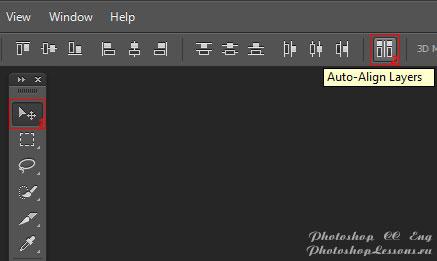 Перевод Move Tool - Auto-Align Layers (Инструмент «Перемещение» - Автоматическое выравнивание слоев) на примере Photoshop CC (2014) (Eng)