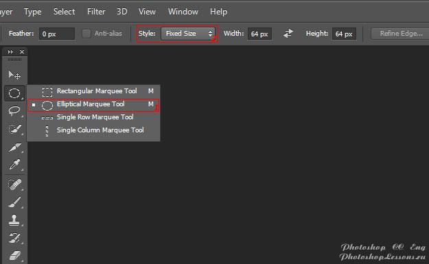 Перевод Elliptical Marquee Tool - Style: Fixed Size (Инструмент «Овальная область» - Стиль: Задан. размер) на примере Photoshop CC (2014) (Eng)