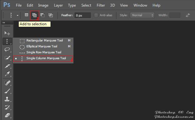Перевод Single Column Marquee Tool - Add to selection (Инструмент «Область (вертикальная строка)» - Добавить к выделенной области) на примере Photoshop CC (2014) (Eng)