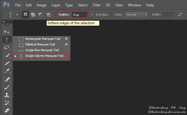 Перевод Single Column Marquee Tool - Feather (Инструмент «Область (вертикальная строка)» - Растушевка) на примере Photoshop CC (2014) (Eng)