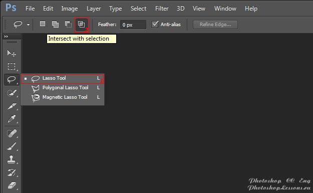 Перевод Lasso Tool - Intersect with selection (Инструмент «Лассо» - Пересечение с выделенной областью) на примере Photoshop CC (2014) (Eng)