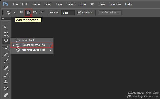 Перевод Polygonal Lasso Tool - Add to selection (Инструмент «Прямолинейное лассо» - Добавить к выделенной области) на примере Photoshop CC (2014) (Eng)