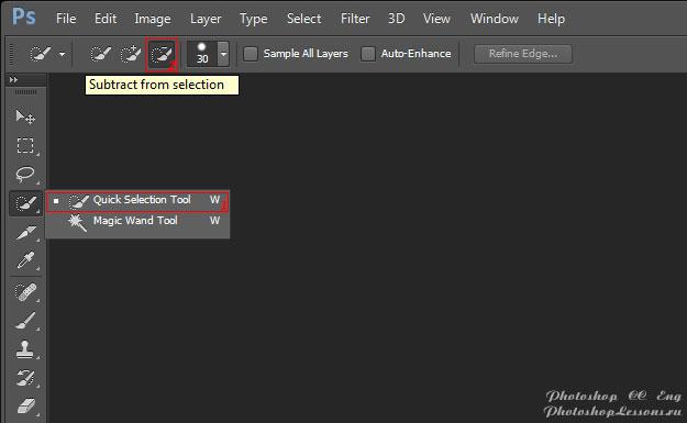 Перевод Quick Selection Tool - Subtract from selection (Инструмент «Быстрое выделение» - Вычитание из выделенной области) на примере Photoshop CC (2014) (Eng)
