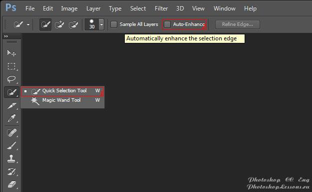 Перевод Quick Selection Tool - Auto-Enhance (Инструмент «Быстрое выделение» - Усилить автоматически) на примере Photoshop CC (2014) (Eng)