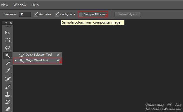 Перевод Magic Wand Tool - Sample All Layers (Инструмент «Волшебная палочка» - Образец со всех слоев) на примере Photoshop CC (2014) (Eng)