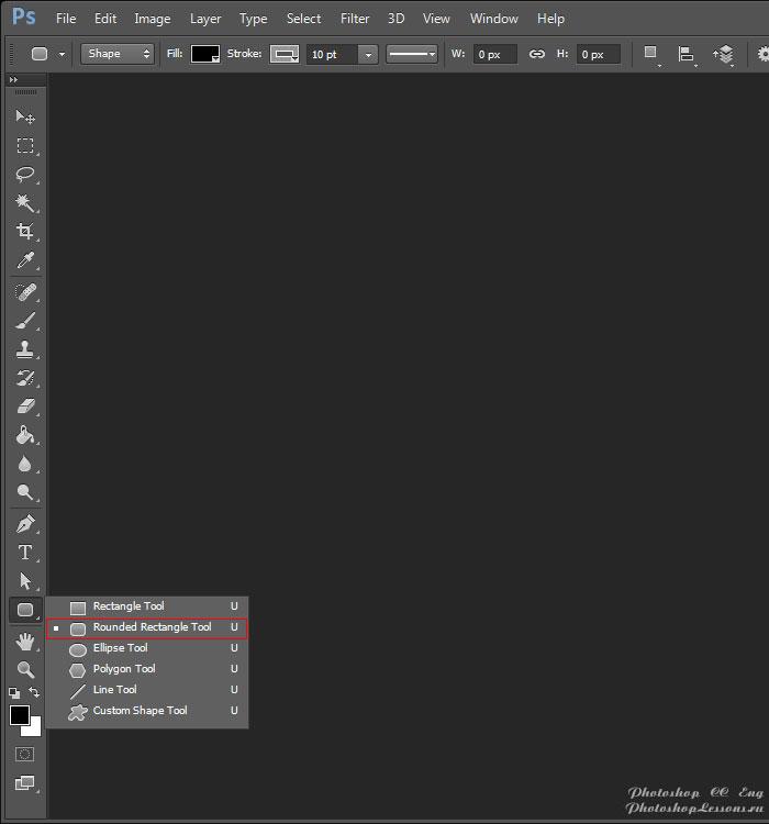 Перевод Rounded Rectangle Tool (Инструмент «Прямоугольник со скругленными углами» / U) на примере Photoshop CC (2014) (Eng)