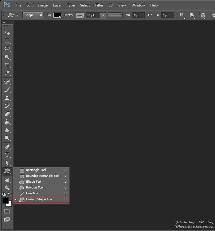 Перевод Custom Shape Tool (Инструмент «Произвольная фигура» / U) на примере Photoshop CC (2014) (Eng)