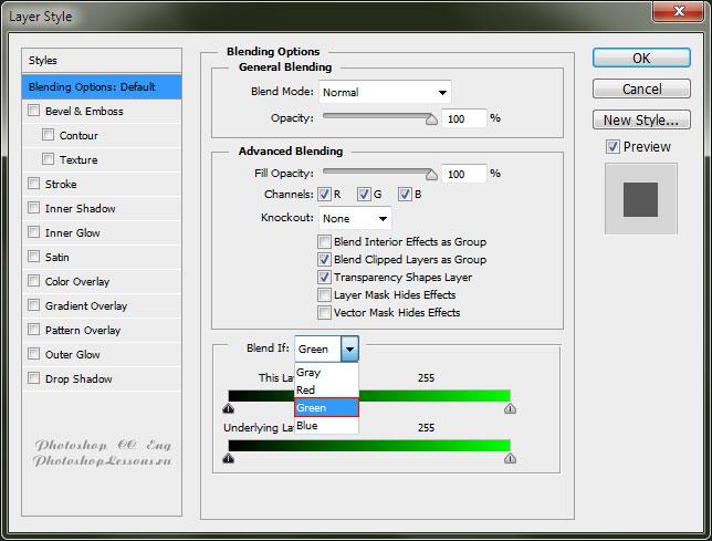 Перевод Blending Option - Blend If: Green (Параметры наложения - Наложение, если: Зеленый) на примере Photoshop CC (2014) (Eng)