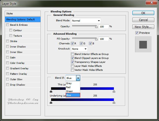 Перевод Blending Option - Blend If: Blue (Параметры наложения - Наложение, если: Синий) на примере Photoshop CC (2014) (Eng)