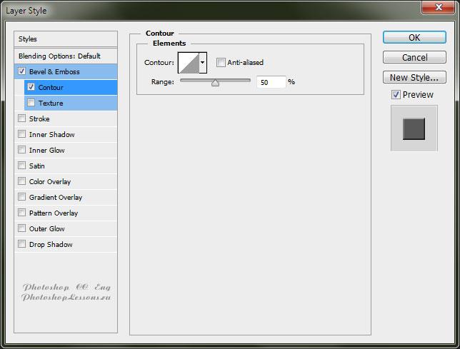 Перевод Layer Style - Bevel & Emboss - Contour (Стиль слоя - Тиснение - Контур) на примере Photoshop CC (2014) (Eng)