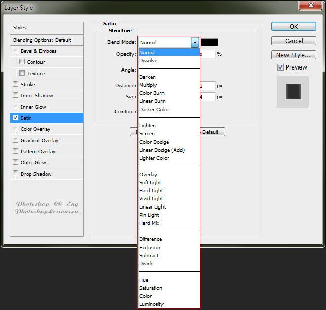 Варианты Satin - Blend Mode (Глянец - Режим наложения) на примере Photoshop CC (2014) (Eng)