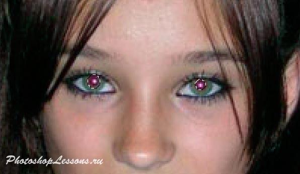 Пример выделения зрачков инструментом «овальная область выделения» <u>глаза</u> в программе Photoshop CS5.