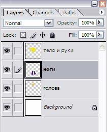 Получаем 4 слоя на данном изображении в Photoshop CS3